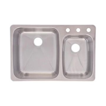 Franke USA C2233R/9 Dualmount Double Bowl Kitchen Sink Stainless Steel
