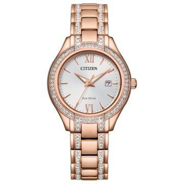 Citizen Eco-Drive Women's Silhouette Crystal Rose Gold-Tone Stainless Steel Bracelet Watch 30mm