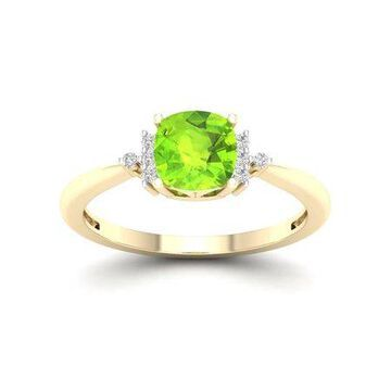 Imperial Gemstone 10K Yellow Gold Peridot 1/20 CT TW Diamond Fashion Ring