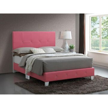 Rose Faux Leather Bed (Pink - Twin)