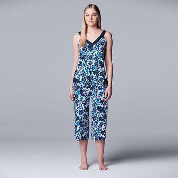 Women's Simply Vera Vera Wang Pajama Tank & Pajama Culotte Capri Set, Size: Small, Dark Blue