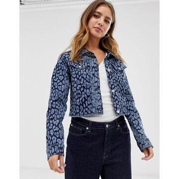 Brave Soul montana denim jacket in leopard print