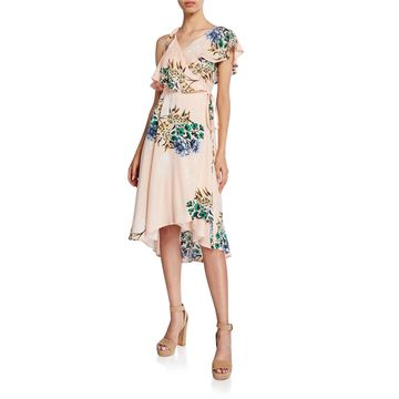 Floral Ruffle High-Low Wrap Dress