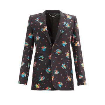 Paco Rabanne - Floral-print Cotton-blend Twill Suit Jacket - Mens - Black Multi