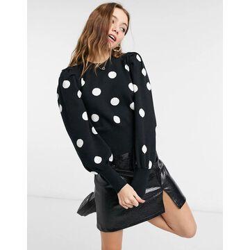 QED London puff sleeve polka dot sweater in black and white