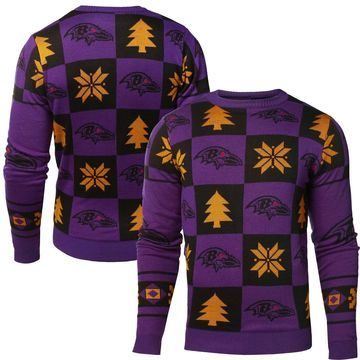 Baltimore Ravens Klew Patches Ugly Sweater - Purple