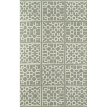 Momeni Palm Beach 8 x 10 Green Indoor or Outdoor Geometric Handcrafted Area Rug   PAMBEPAM-1GRN7696