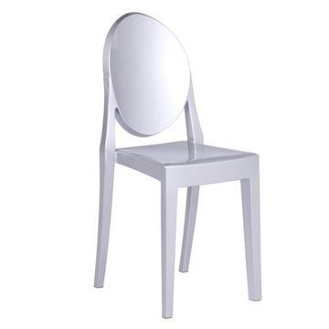 Fine Mod Imports Clear Side Chair, Silver