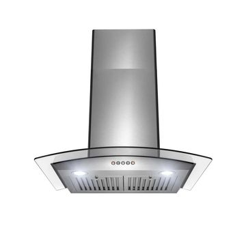 AKDY 30 in Stainless Steel and Glass Push Panel Kitchen Range Hood