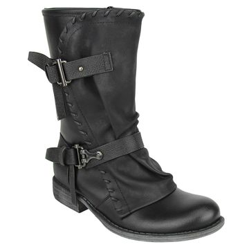 Not Rated Womens Florence Round Toe Mid-Calf Motorcycle Boots