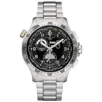 Men's Swiss Chronograph Khaki Aviation Worldtimer Stainless Steel Bracelet Watch 45mm H76714135
