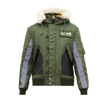 Schott - Leather-panelled Hooded Bomber Jacket - Mens - Green Multi