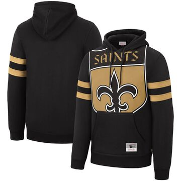 Men's Mitchell & Ness Black New Orleans Saints Big Face Historic Logo Pullover Hoodie