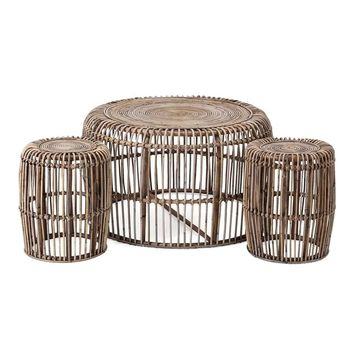 Imax Neutro Rattan Coffee and Accent Tables (Set of 3)