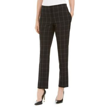 Kasper Windowpane-Plaid Pants