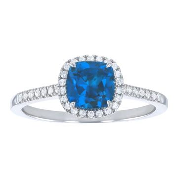 10k White Gold 1 3/8 ct. Diamonds and Cushion London Blue Topaz Halo Ring by Beverly Hills Charm