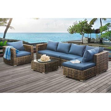 Sunjoy Kyle 5PC Outdoor Wicker Sectional Sofa Seating Set with Cushioned Chairs and Coffee Table, Brown/Blue