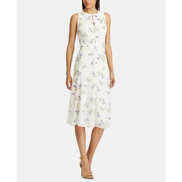 Floral-Print Sleeveless Georgette Midi Dress