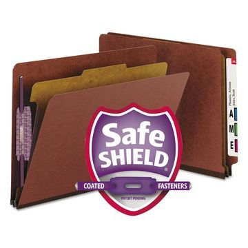 Smead Pressboard End Tab Classification Folder Letter Four-Section Red 10/Box