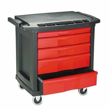 ''Rubbermaid 7734 Five Drawer Mobile Work Center, Black/Red (RCP 7734 BLA)''