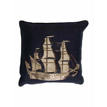 Beaded Ship Throw Pillow Navy