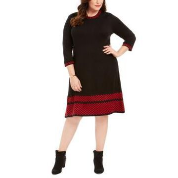 Jessica Howard Plus Size Printed-Edge Fit & Flare Dress