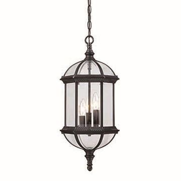 Acclaim Lighting Dover Matte Black Single Traditional Beveled Glass Lantern Pendant Light
