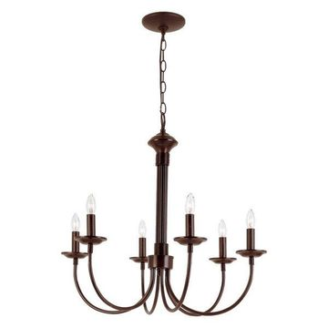 Trans Globe 9016 ROB Colonial Rubbed Oil Bronze 6-Light Chandelier