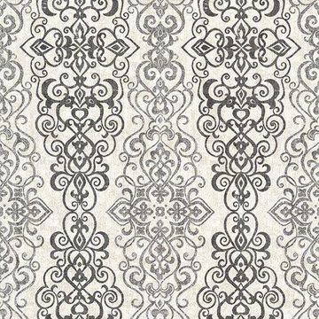 Kenneth James Mexuar Black Filigree Stripe Wallpaper