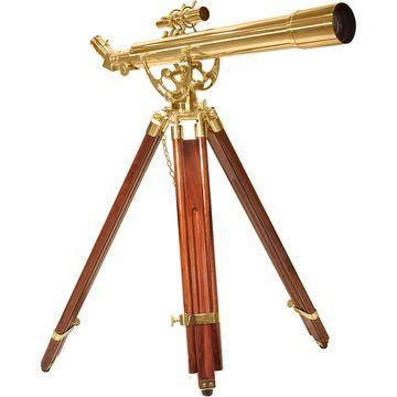 28 Power, 70060 Brass Refractor Telescope, Anchormaster with Mahogany Floor Tripod