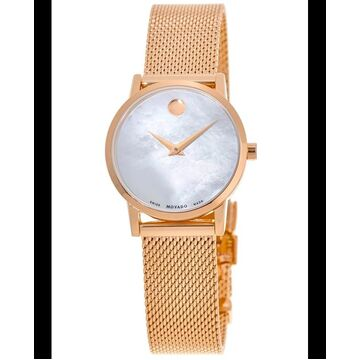 Movado Museum Classic Mother of Pearl Dial Rose Gold PVD Stainless Steel Women's Watch 0607352 0607352