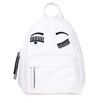 Chiara Ferragni Backpack In White Fabric With Flirting Embroidery