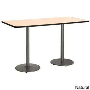 KFI 36in x 72in Bistro Height Pedestal Table with Round Silver Base (Natural)
