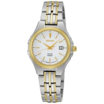 Seiko Watch, Women's Solar Two Tone Stainless Steel Bracelet 28mm SUT038