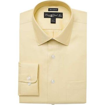 Pronto Uomo Men's Yellow Modern Fit Non-Iron Dress Shirt - Size: 18 38/39 - Only Available at Men's Wearhouse