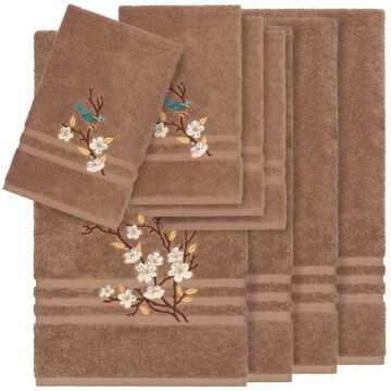 Authentic Hotel and Spa Turkish Cotton Blue Bird Embroidered Latte Brown 8-piece Towel Set