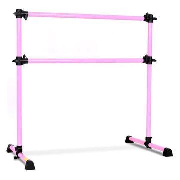 Costway 4' Portable Double Freestanding Ballet Dance Bar Height Adjust