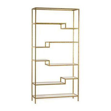 Sterling Industries Gold and Mirrored Shelving Unit Bookcase