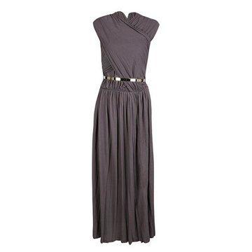 Chloe Purple Draped Belted Sleeveless Maxi Dress M