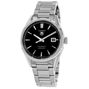 Tag Heuer Men's 'Carrera' Black Dial Date Stainless Steel Watch