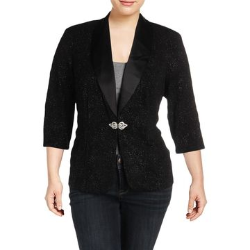 Alex Evenings Womens Plus Blazer Textured Glitter