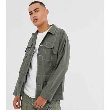Reclaimed Vintage utility overshirt with spliced seam detail-Stone