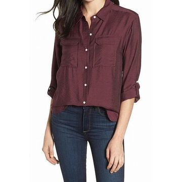 Two by Vince Camuto Red Women Small S Dual Pocket Button Down Top
