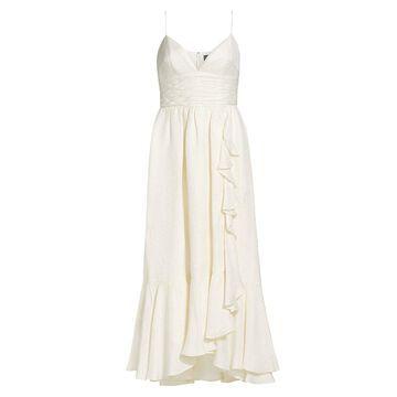 THEIA Jacquard Cascading Ruffle Dress
