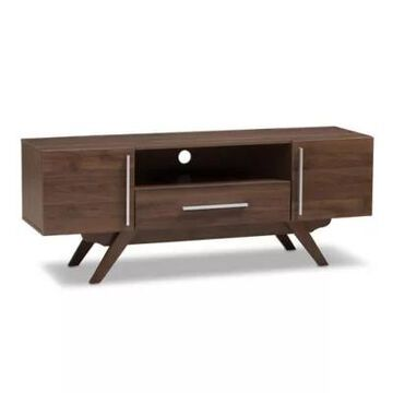 Baxton Studio Ashfield TV Stand in Walnut Brown