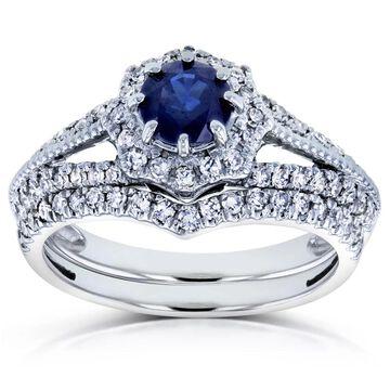 Annello by Kobelli 14k White Gold 1ct TGW Sapphire and Diamond Star Halo Chevron Bridal Rings Set (4)