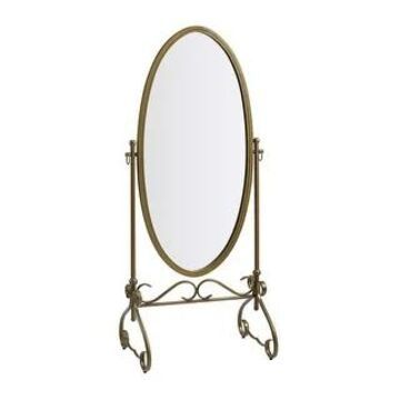 Linon Angelica 26 x 63-inch Metal Oval Cheval Mirror (Antique Gold)
