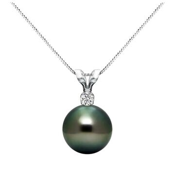 DaVonna Sterling Silver 1/20 Diamond 9-9.5 mm AAA Black Tahitian South Sea Pearl Pendant Necklace, 18-inch (18 Inch - 9-9.5 MM - Black)