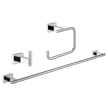 GROHE 3-Piece Essentials Cube Chrome Decorative Bathroom Hardware Set | 40777001