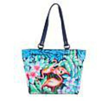 Anuschka Hand-Painted Leather Large Shoulder Tote - Flamingo Fever